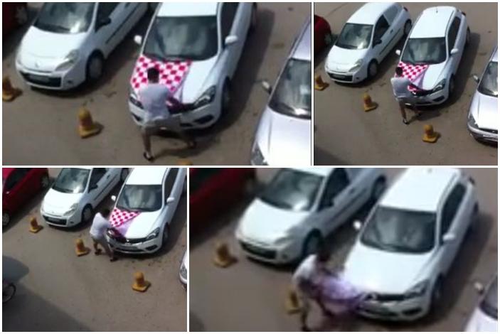 Kockasta presvlaka navučena na haubu automobila na parkingu Fructe u Bosanskom Brodu zasmetala je lokalnog mladića