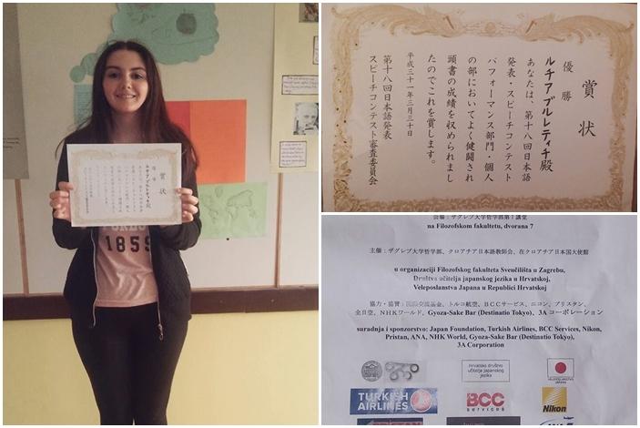Netko nešto voli, gimnazijalka Lucija Brletić već šest godina proučava japanski jezik i uspješna je u tom