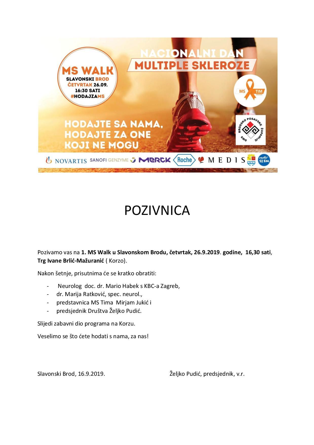 Hodajte s nama za one koji ne mogu, pod tom parolom organiziran je 1. MS WALK u Slavonskom Brodu