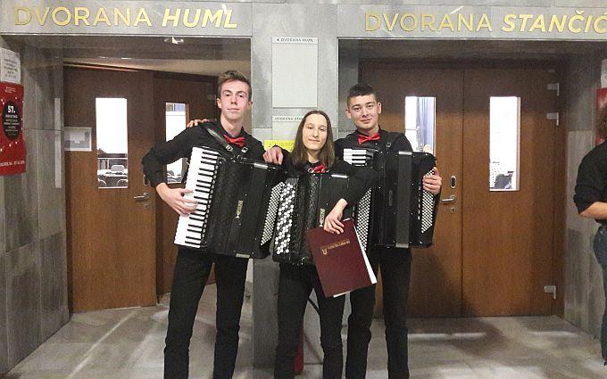 Trio harmonika srednje glazbene škole, Ivan, Lara i Gabrijel osvojili drugu nagradu na državnom natjecanju