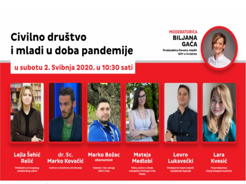 """Forum mladih SDP-a u subotu je organizirao digitalnu tribinu pod nazivom pod nazivom """"Civilno društvo i mladi u doba pandemije"""""""