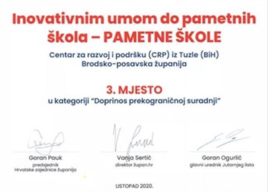 Projekt INOVATIVNIM UMOM DO PAMETNIH ŠKOLA - PAMETNE ŠKOLE Brodsko-posavske  županije  osvojio je 3. mjesto u kategoriji  Doprinos prekograničnoj suradnji
