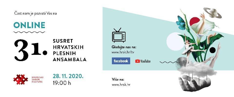 31. Susret hrvatskih plesnih ansambala 28. studenoga u online okruženju