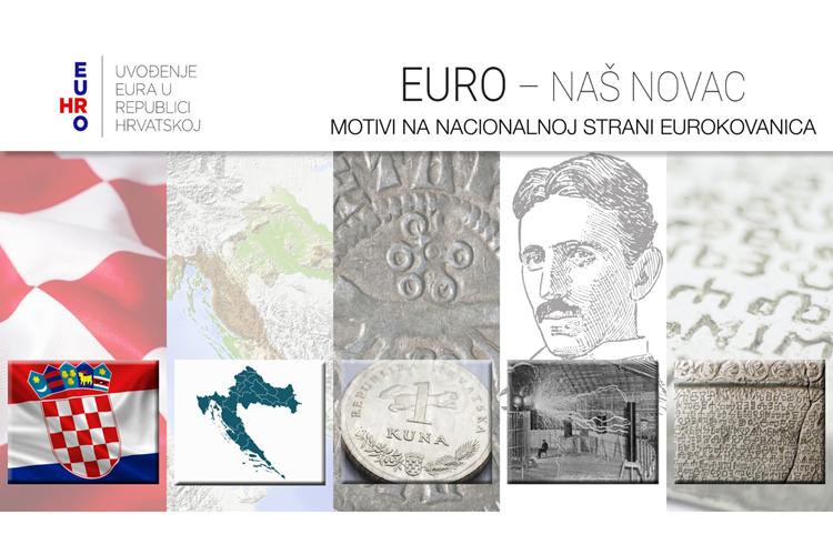 Šahovnica, geografska karta Hrvatske, kuna, glagoljica i Nikola Tesla–predloženi motivi za hrvatsku stranu eurokovanica