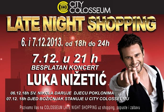 Late night shopping i besplatni koncert Luka Nižetić